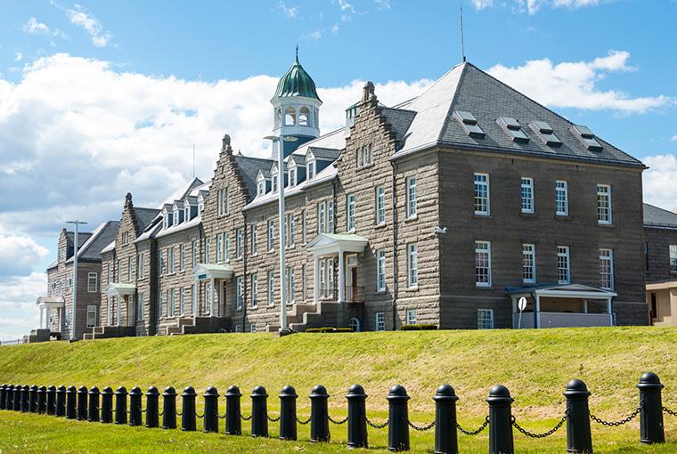 U.S. Naval War College's Luce Hall on Coasters Harbor Island in Newport, Rhode Island.