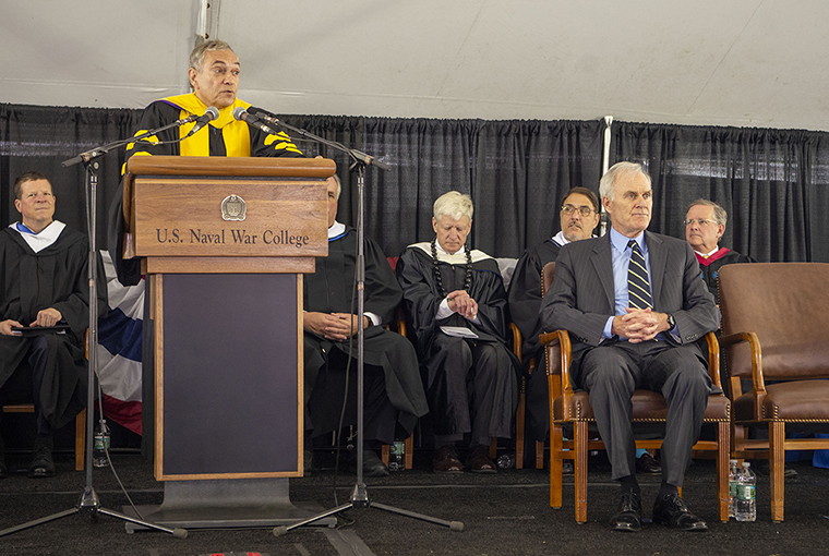 Acting President Lewis Duncan speaking at the 2019 Summer Graduation