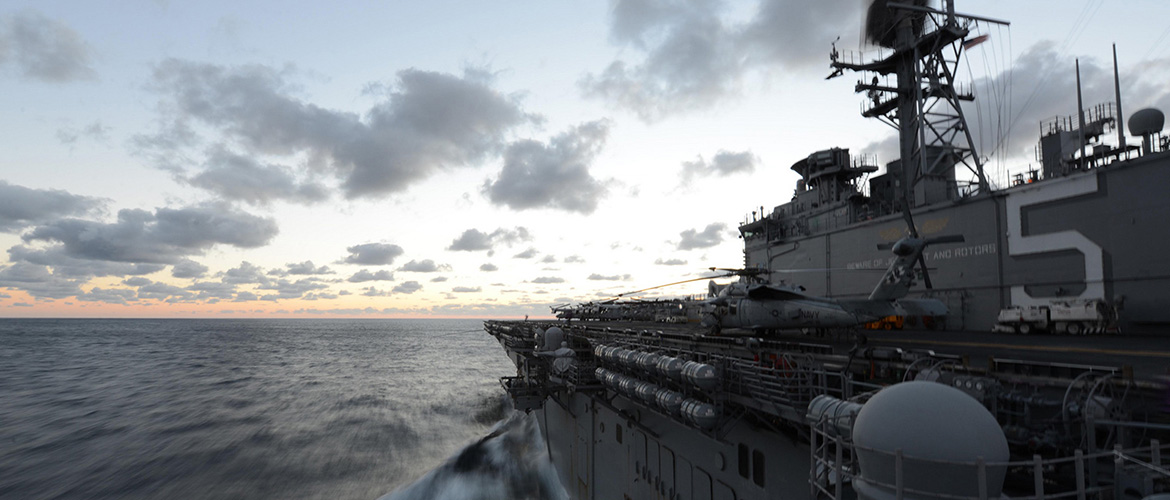 The multipurpose amphibious assault ship USS Bataan (LHD 5) transits the Atlantic Ocean.