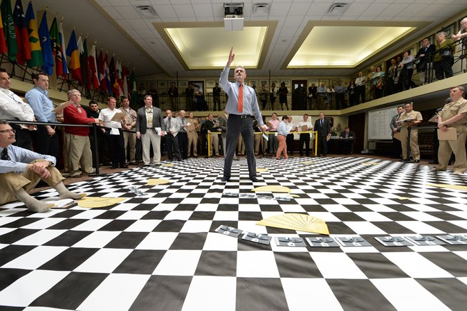 A U.S. Naval War College (NWC) wargame based on a real World War I battle that had been studied intensely by World War II military leaders, such as Fleet Admirals Chester W. Nimitz, Ernest J. King and William F. Halsey, was reenacted at the school, May 10.