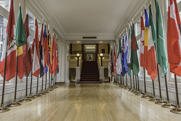 Hallway of flags at U.S. Naval War College