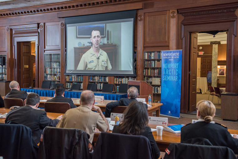 Photo of Chief of Naval Operations Adm. John Richardson providing remarks during the Newport Arctic Scholars Initiative held at U.S. Naval War College