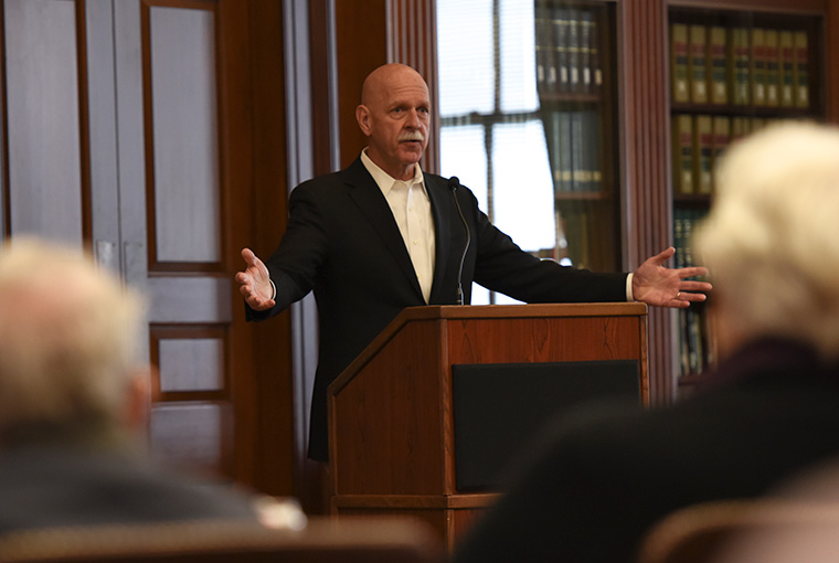 Scott H. Swift speaks to players and scholars at the International Crisis War Game: Cyber and Emerging Technologies held at U.S. Naval War College.