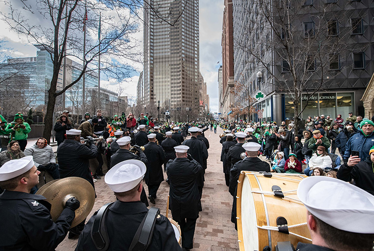 Navy Band Northeast musicians marching with more than 200 other performing units on March 16 in this city's annual St. Patrick's Day Parade.