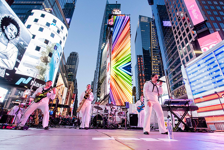 Navy Band Northeast's Rock Band, Rhode Island Sound, performs in Times Square in support of Fleet Week New York 2019.