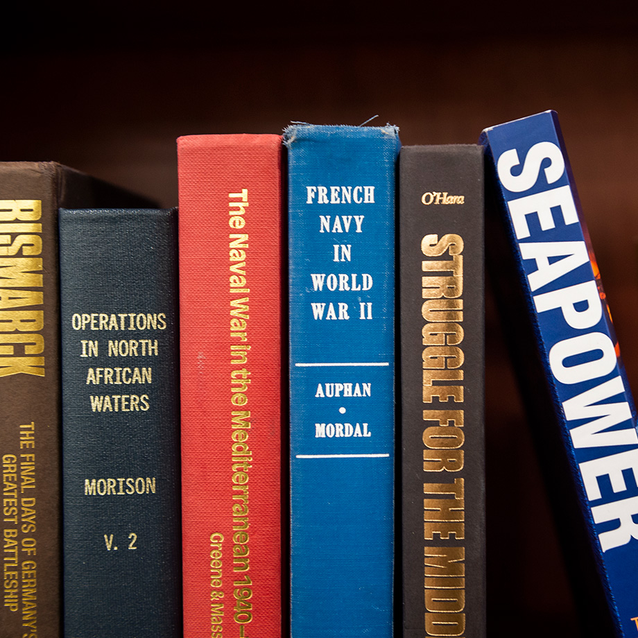 Books on a shelf at U.S. Naval War College