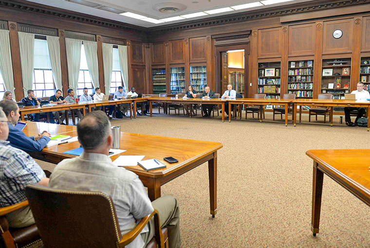 The U.S. Naval War College hosted a workshop on the geopolitics of Europe and Eurasia on Aug. 23, 2019, with guest scholars Stacy Closson and Andrew Michta. Closson, at left, is a global fellow at the Woodrow Wilson Center's Kennan Institute and an adjunct professional lecturer at American University's School of International Service.