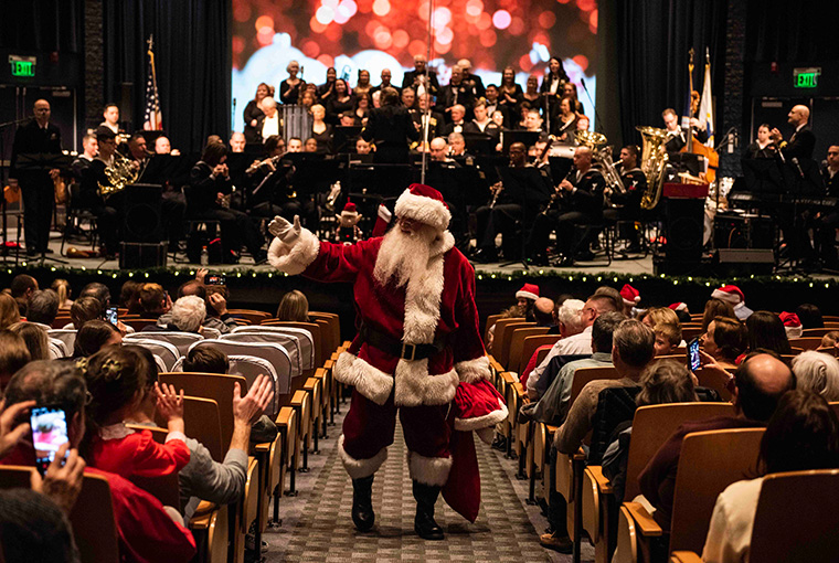 "Navy Band Northeast (NBNE) performed in a ""Holiday by the Bay"" concert at the U.S. Naval War College's Spruance Auditorium, Dec. 15."