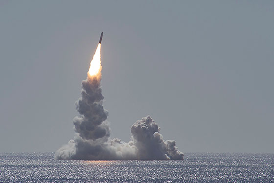 An unarmed Trident II (D5LE) missile launches from the Ohio-class ballistic missile submarine USS Maine (SSBN 741) off the coast of San Diego, California, Feb. 12, 2020.