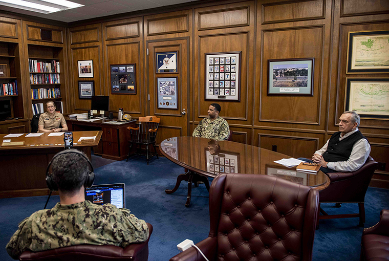 Rear Adm. Shoshana S. Chatfield, president of the U.S. Naval War College (NWC), Command Master Chief Keith Webb, Provost Lewis Duncan and Cmdr. Gary Ross, public affairs officer NWC, hold a Facebook livestream all-hands call to answer questions about how the COVID-19 virus is affecting NWC, March 20.