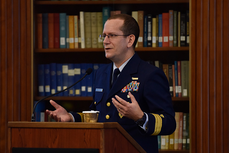 Coast Guard Rear Adm. John Mauger, U.S. Cyber Command director of exercises and training, delivers the Friday keynote address at the 2019 Professional Military Education and Cyber Domain Workshop.