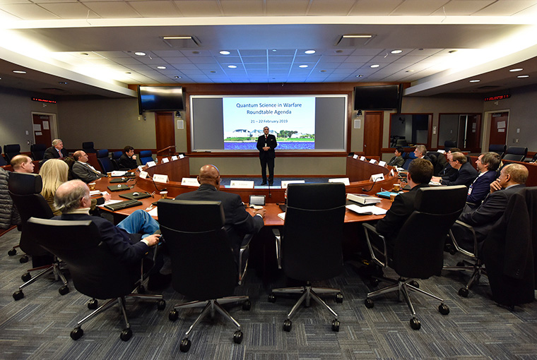 Duncan Lewis, provost, U.S. Naval War College, speaks during the first Quantum Science in Warfare roundtable.