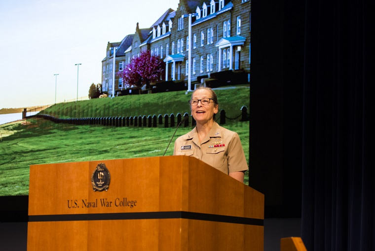 Rear Admiral Shoshana Chatfield, president of the U.S. Naval War College, gives the opening remarks for the Faculty Cloister 2021.