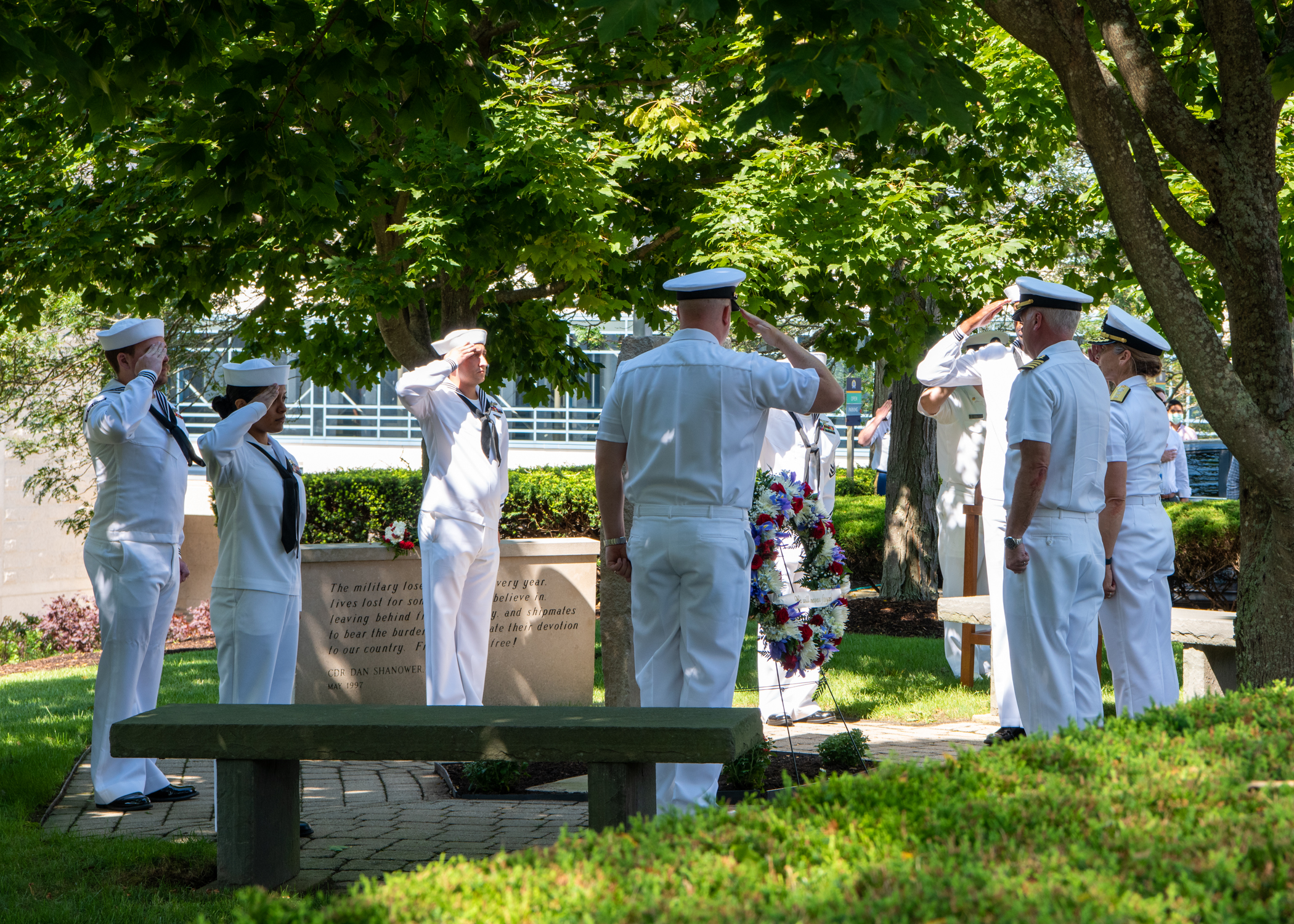 Participants from the U.S. Naval War College (NWC) pay respect