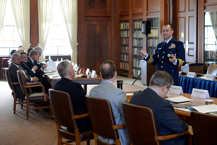 Coast Guard Vice Adm. Charles D. Michel, vice commandant of the U.S. Coast Guard, provides remarks as the keynote speaker for the 2016 Maritime Strategy, EMC Chair symposium at U.S. Naval War College in Newport, Rhode Island.