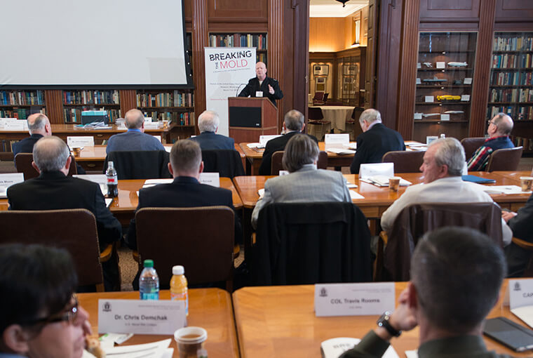 """Rear Adm. Jeffrey A. Harley, president, U.S. Naval War College (NWC), welcomes attendees of """"Breaking the Mold; A Workshop on War and Strategy in the 21st Century"""" held in Newport, Rhode Island."""