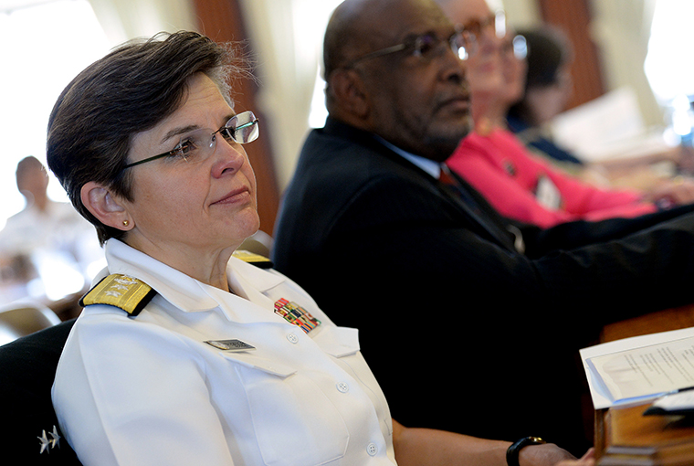 Rear Adm. Margaret Grun Kibben, chief of chaplains of the Navy, participates in the 2016 Women, Peace, and Security (WPS) Conference at NWC in Newport, Rhode Island.