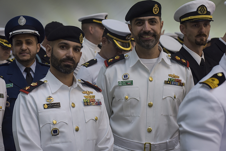 Students of U.S. Naval War College's (NWC) 2018 graduating class participate in a commencement ceremony at NWC.