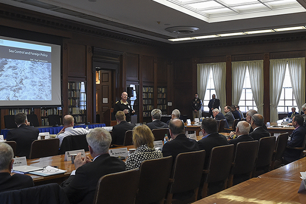 Rear Adm. Jeffrey A. Harley, president, U.S. Naval War College (NWC), provides opening remarks during an EMC Chair Symposium on Maritime Security held at NWC in Newport, Rhode Island.