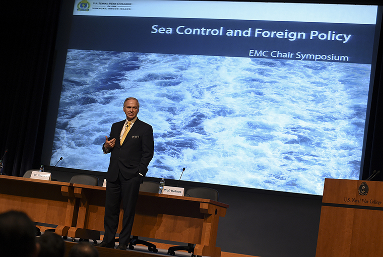 "Randy Forbes, senior distinguished fellow of U.S. Naval War College (NWC) Foundation and former representative, gives remarks to NWC students, staff, faculty and guests during his keynote address on sea power and national strategy during an EMC Chair Symposium on Maritime Security, ""Sea Control and Foreign Policy,"" held at NWC in Newport, Rhode Island."