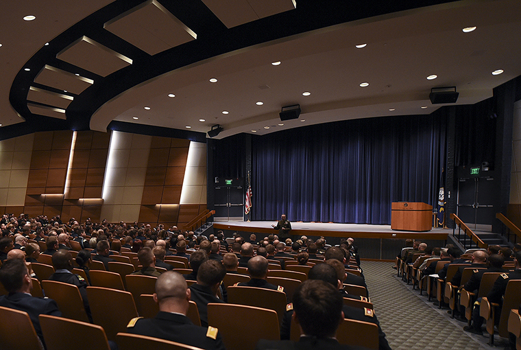 Marine Corps Gen. Joseph F. Dunford Jr., chairman of the Joint Chiefs of Staff, addresses students, staff and faculty at U.S. Naval War College in Newport, Rhode Island.
