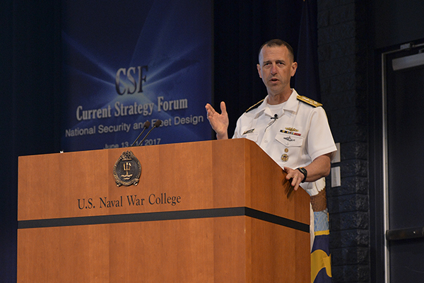 Adm. John Richardson, chief of naval operations, delivers a keynote address during the 68th annual Current Strategy Forum at U.S. Naval War College (NWC) in Newport, Rhode Island.