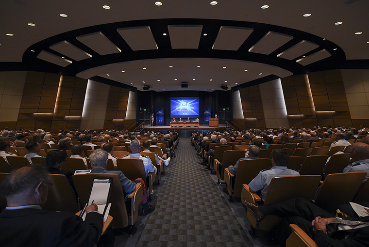Students, staff and faculty assigned to U.S. Naval War College (NWC) listen to a panel discussion during the 68th annual Current Strategy Forum at U.S. Naval War College (NWC) in Newport, Rhode Island.