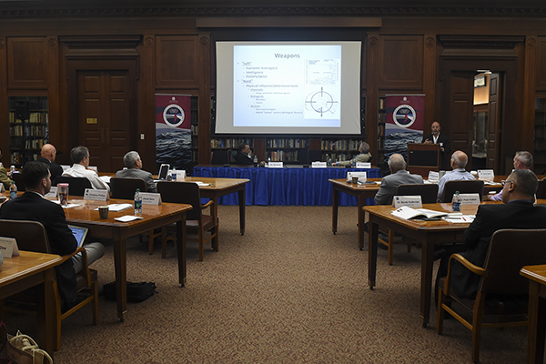 James Giordano, Georgetown University, Washington, D.C. gives a presentation at a symposium hosted by the Center for Irregular Warfare and Armed Groups (CIWAG) at the school in Newport, Rhode Island.