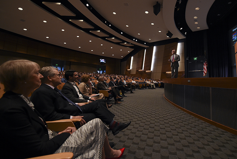 Charles Bolden, retired Marine Corps major general and former administrator and astronaut at National Aeronautics and Space Administration, speaks to students, staff and faculty during U.S. Naval War College's (NWC) inaugural Future Warfighting Symposium held at the college in Newport, Rhode Island.
