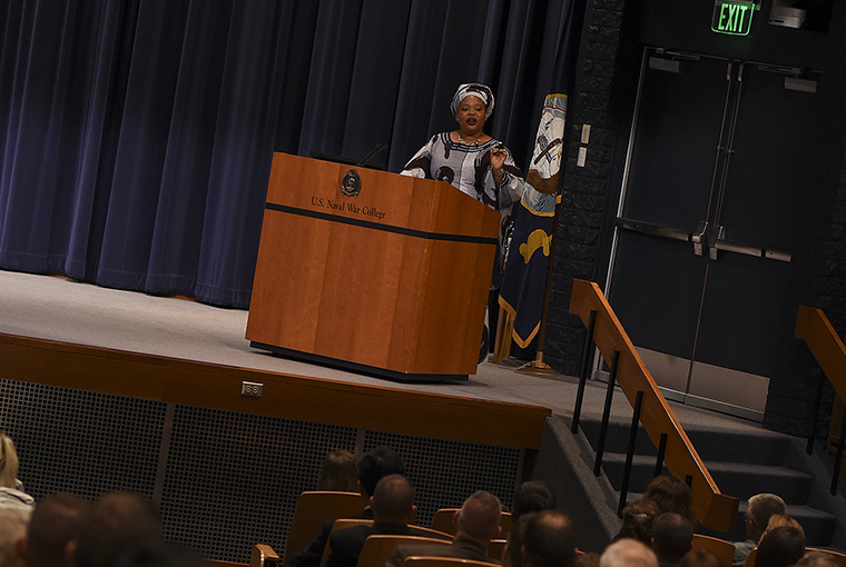 Leymah Gbowee, 2011 Nobel Peace laureate and Liberian peace activist, social worker and women's right activist, speaks during an evening lecture held at U.S. Naval War College (NWC) as part of the 2017 Women, Peace and Security (WPS) Conference at NWC in Newport, Rhode Island.