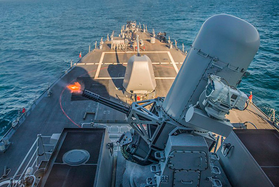 The Arleigh Burke-class guided-missile destroyer USS Carney (DDG 64) fires a Phalanx close-in weapons system during a live-fire exercise in the Black Sea.