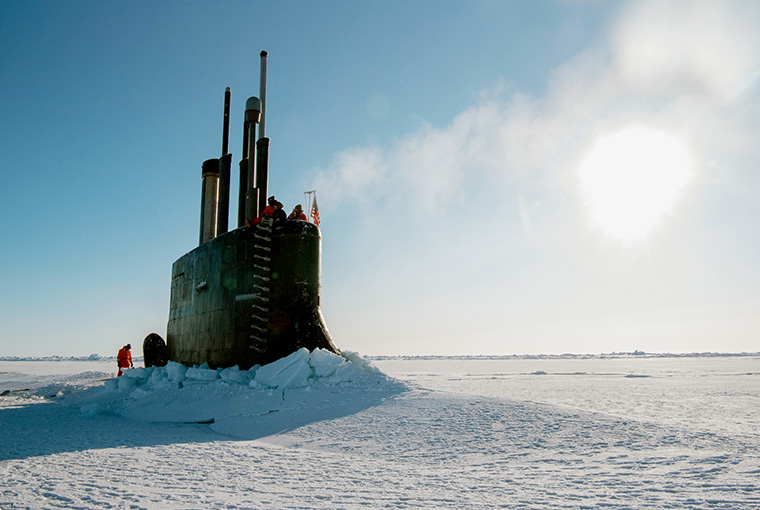 The Seawolf-class fast-attack submarine USS Connecticut (SSN 22) surfaces through the ice as it participates in Ice Exercise 2018.