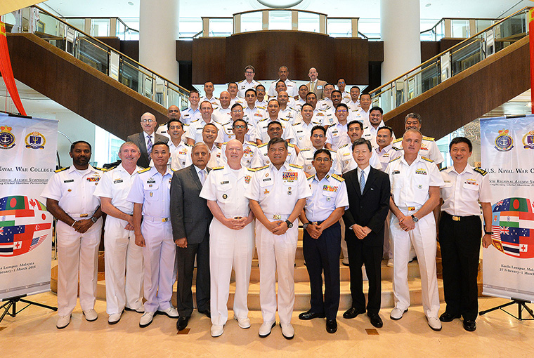 U.S. Naval War College (NWC) alumni pose for a group photo at NWC's 16th Regional Alumni Symposium held in the Malaysian capital of Kuala Lumpur.