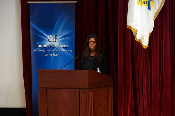 Kiron Skinner from Carnegie Mellon University delivers a keynote address during the 69th annual Current Strategy Forum held at U.S. Naval War College.