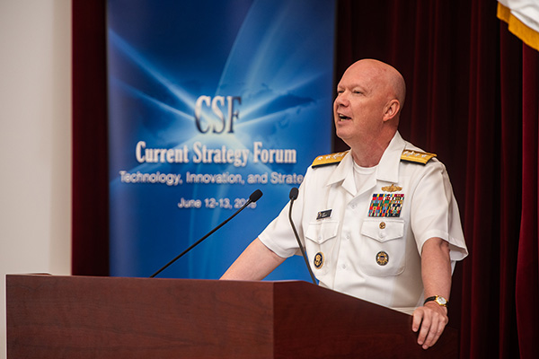 Rear Adm. Jeffrey A. Harley, president, U.S. Naval War College (NWC), delivers a welcome address during the 69th annual Current Strategy Forum held at NWC.