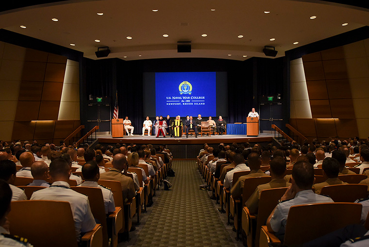 Rear Adm. Jeffrey A. Harley, president, U.S. Naval War College, addresses students, staff, faculty and guests during a convocation ceremony kicking off the 2018-2019 academic year.