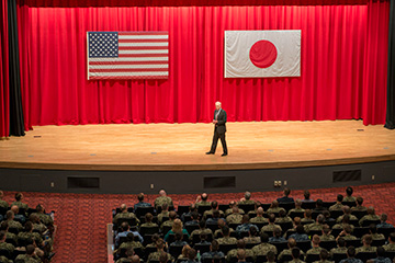 Secretary of the Navy Richard V. Spencer engages with Sailors and Marines during an All-Hands Call at the Fleet Theater onboard U.S. Fleet Activities (FLEACT) Yokosuka.