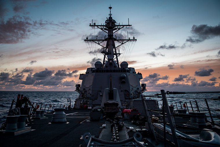 The guided-missile destroyer USS Dewey (DDG 105) transits the Pacific Ocean while participating in Rim of the Pacific (RIMPAC) exercise 2018.