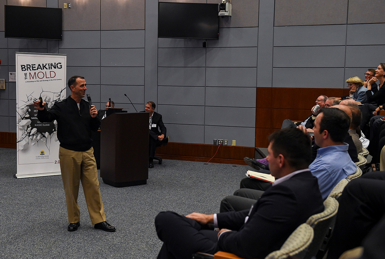 """Adm. John Richardson, Chief of Naval Operations, speaks to attendees of """"Breaking the Mold; A Workshop on War and Strategy in the 21st Century"""" held at U.S. Naval War College."""