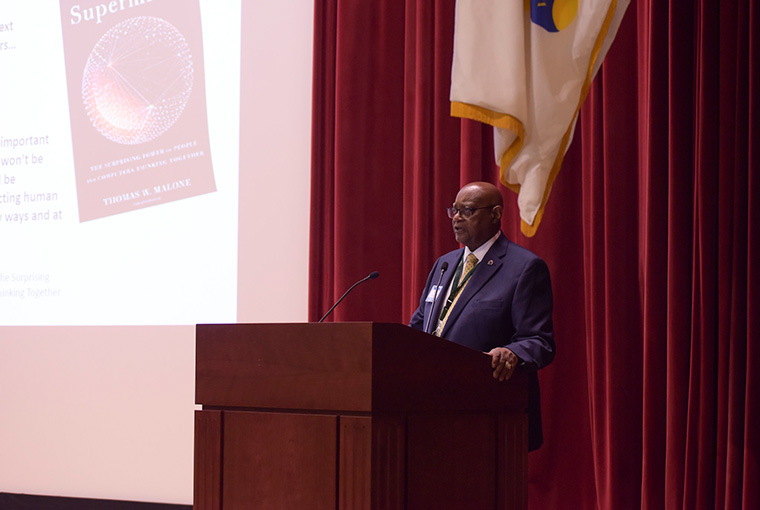 William F. Bundy, associate provost for Warfighting Research at U.S. Naval War College (NWC), gives the motivation and overview for the Diffusion and Adoption of Innovation Studio Summit (DAISS) 2.0 held at NWC April 30-May 2.