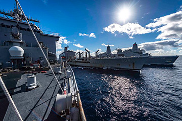 The amphibious dock landing ship USS Ashland (LSD 48) conducts a replenishment-at-sea with the amphibious transport dock ship USS Green Bay (LPD 20) and fleet the replenishment oiler USNS Rappahannock (T-AO 204).