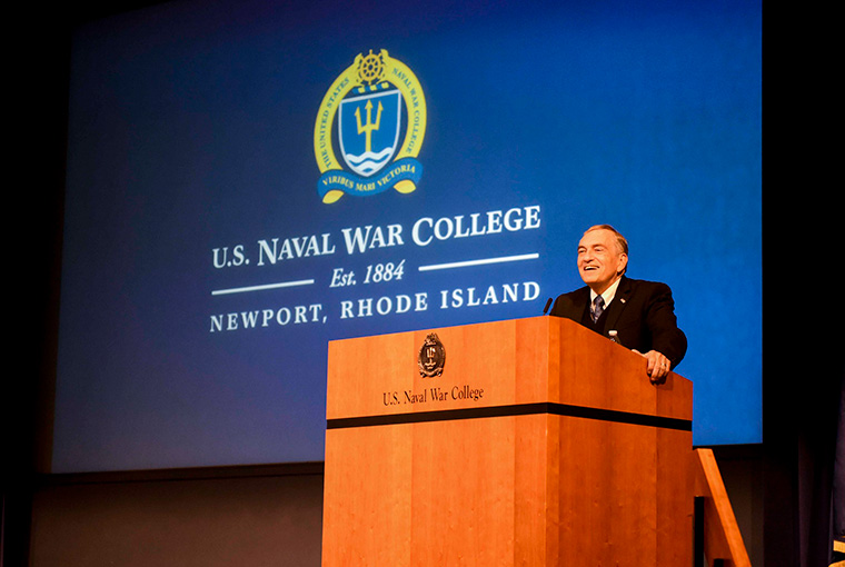 Lewis Duncan, acting president of U.S. Naval War College, gives the opening remarks for the Faculty Cloister 2019 at the college, July 29, 2019.