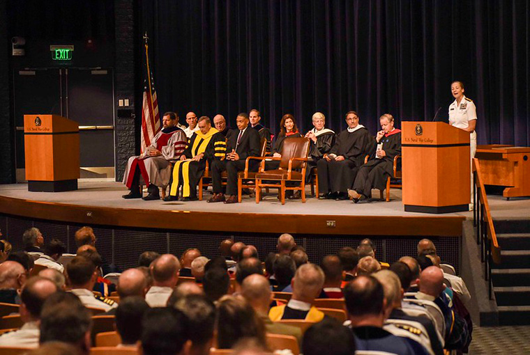 Rear Adm. Shoshana S. Chatfield, president U.S. Naval War College, gives a speech at the 2019 Convocation Ceremony at the college August 5, 2019.