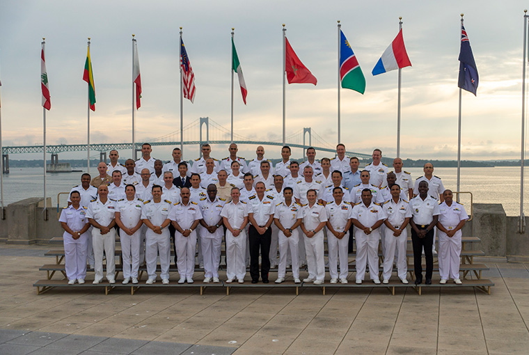 The Naval Command College (NCC) and Naval Staff College (NSC) directors formally introduce and welcome the new in-residence international students to their fellow classmates, faculty and staff.