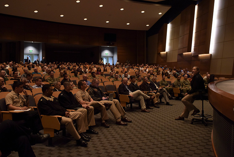 Rear Adm. Shoshana S. Chatfield, president, U.S. Naval War College (NWC), holds her first all-hands call with the college's faculty and staff, Aug. 13. Rear Adm. Chatfield is NWC's 57th president and presides over a graduate institution that awards Master of Arts degrees to military officers and civilian national security employees.