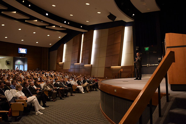 Retired Adm. James Stavridis, guest speaker, gives a speech at the U.S. Naval War College during the second annual Stansfield Turner Lecture Series event August 16.