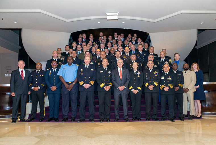 Group photo of the participants of U.S. Naval War College's 18th Regional Alumni Symposium in Buenos Aires, Argentina, August 27, 2019.