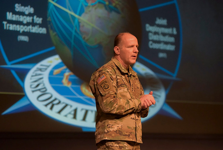 Gen. Steve Lyons, commander, U.S. Transportation Command, addresses U.S. Naval War College students, faculty and staff, Oct. 22.