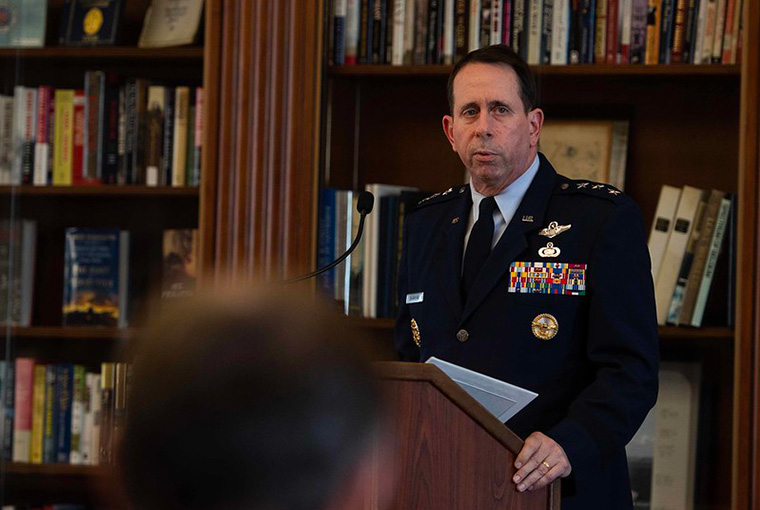 "Air Force Lt. Gen. John ""Jack"" Shanahan, director, Joint Artificial Intelligence Center, presents a lecture titled ""The Challenges and Opportunities of Fielding Artificial Intelligence Technology in the U.S. Military"" at the U.S. Naval War College on Dec. 12."