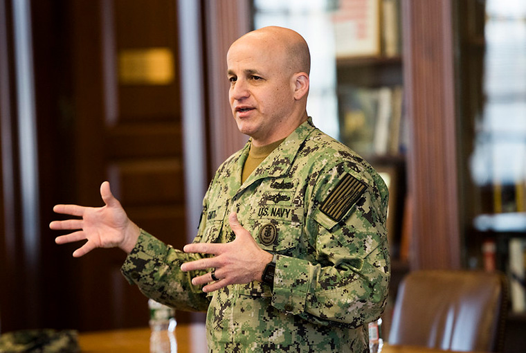 Master Chief Petty Officer of the Navy Russell L. Smith spoke with the U.S. Naval War College's enlisted Sailors, Jan. 16.